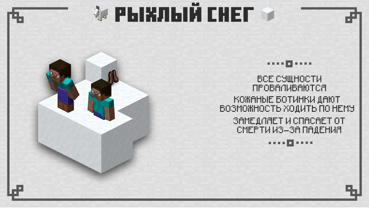 Рыхлый снег Minecraft PE 1.16.201