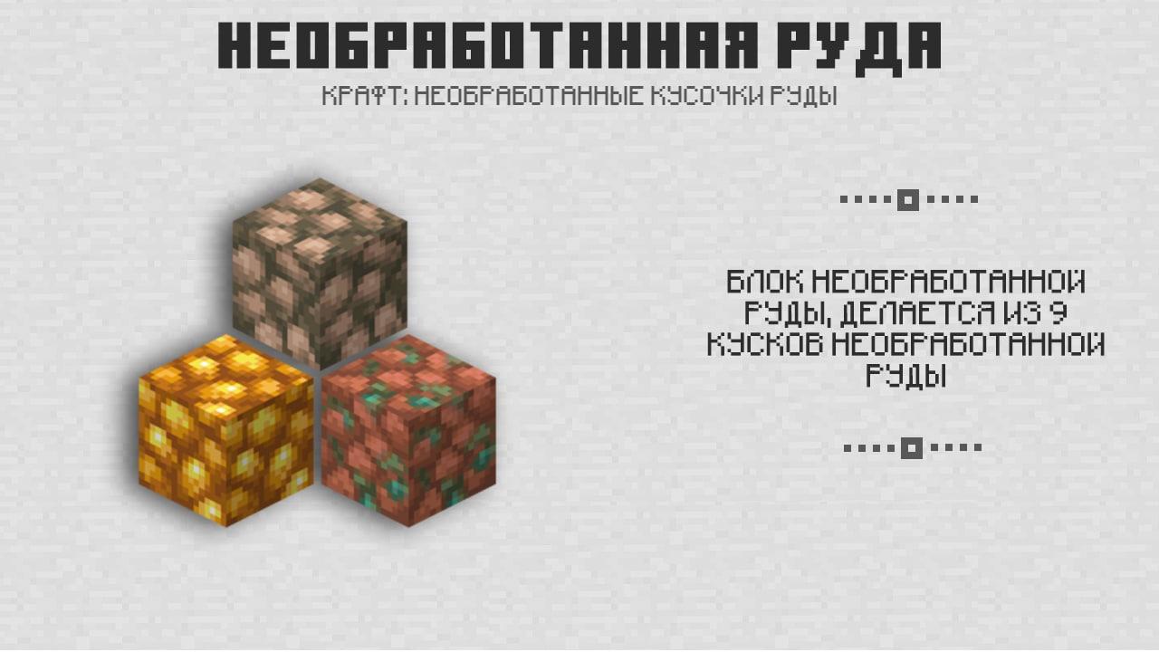 Необработанная руда в Майнкрафт 1.17.0.50